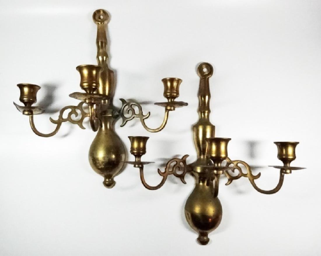 PAIR BRASS 3 LIGHT CANDLE WALL SCONCES, MADE IN JAPAN,