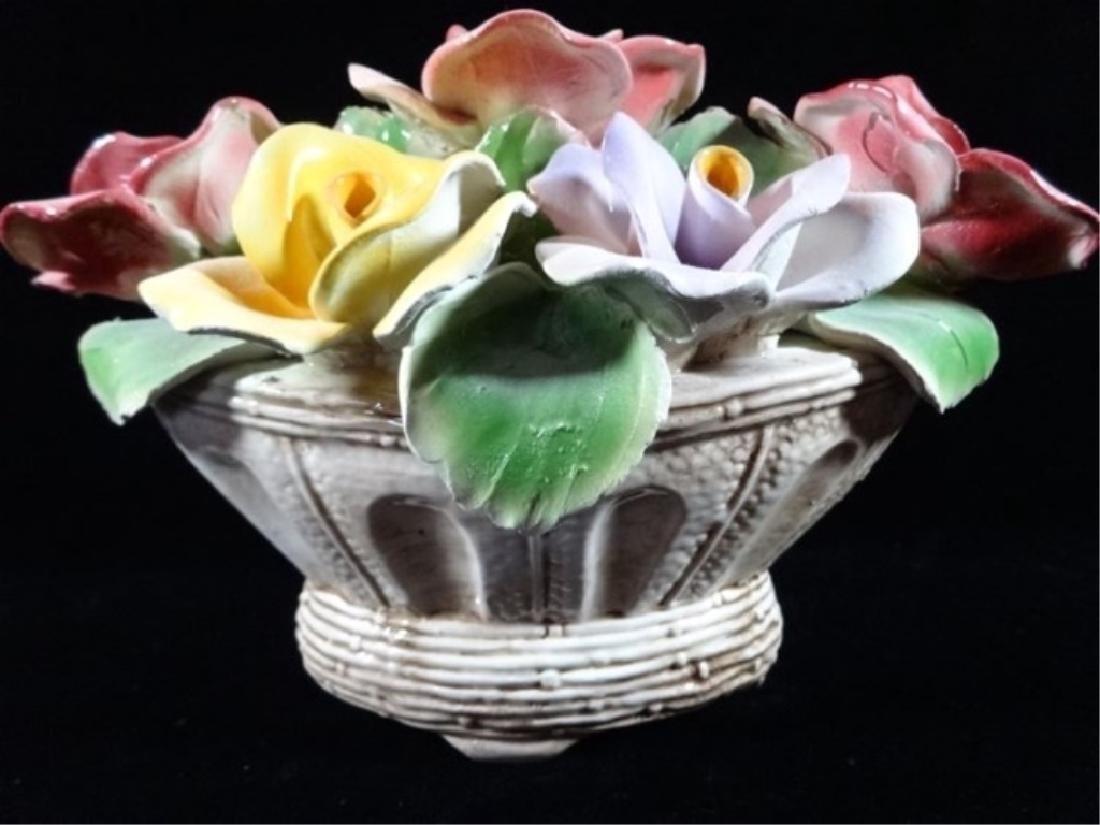 LARGE CAPODIMONTE ITALIAN PORCELAIN FLOWERS IN WHITE