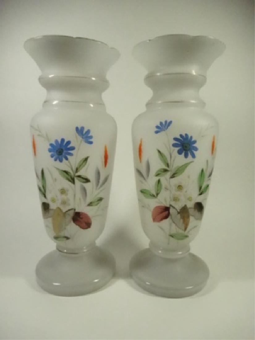 PAIR MID CENTURY ART GLASS VASES, FROSTED WHITE WITH