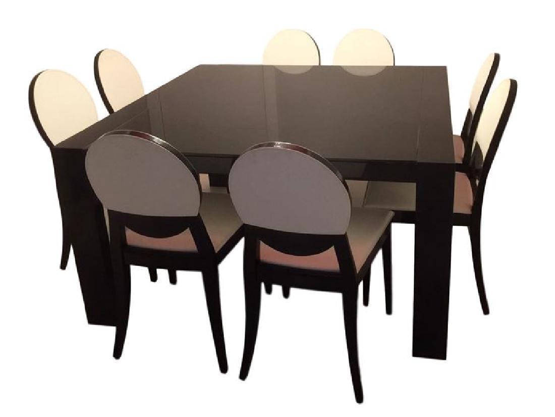 9 PC CALLIGARIS ITALIAN DINING TABLE AND 8 CHAIRS,