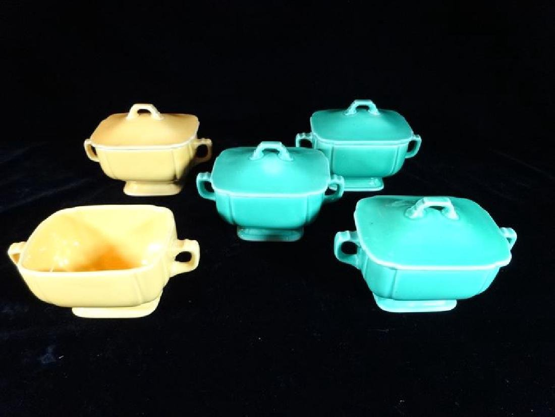 6 VINTAGE HOMER LAUGHLIN SUGAR BOWLS, RIVIERA PATTERN,