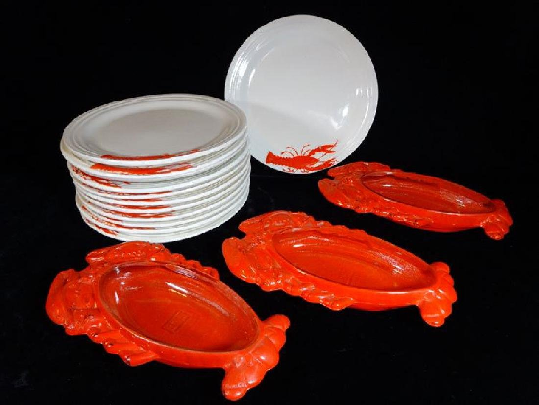 15 PC LOBSTER SERVEWARE, INCLUDES 12 PLATES AND 3 GLASS