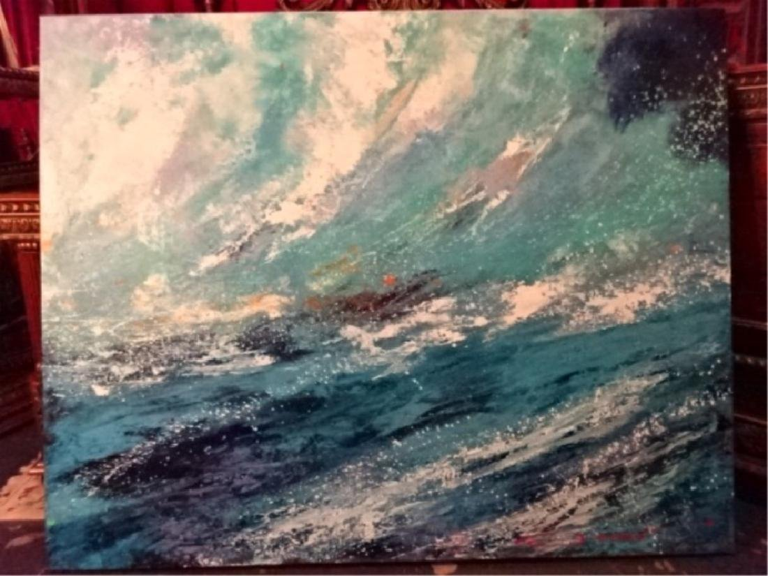 LARGE ACRYLIC ABSTRACT OCEAN WAVE PAINTING, SIGNED