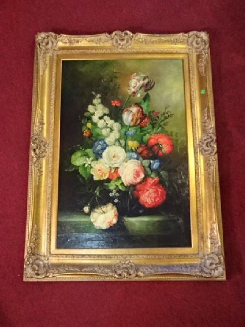 LARGE J. MARGARETTE OIL ON CANVAS PAINTING, 19TH C.