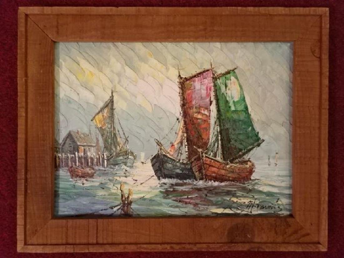 OIL ON CANVAS PAINTING, SAILBOATS, SIGNED LOWER RIGHT