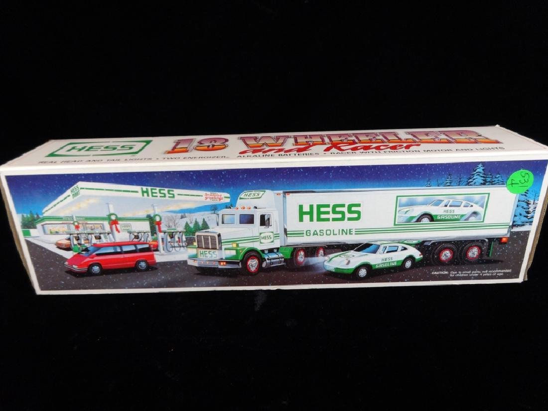 HESS TOY 18 WHEELER TRUCK AND CAR, IN ORIGINAL BOX,