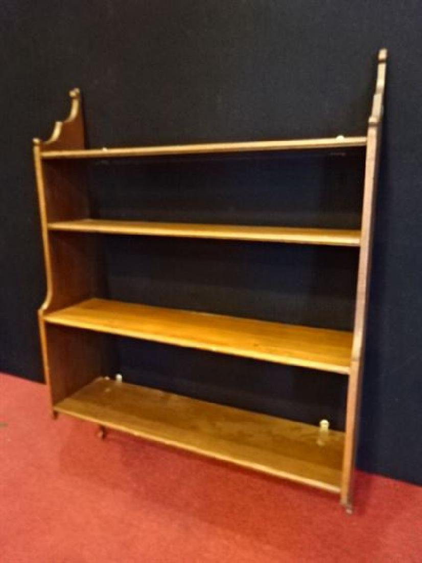 VINTAGE WALL MOUNT WOOD BOOK CASE, 4 SHELVES, VERY GOOD