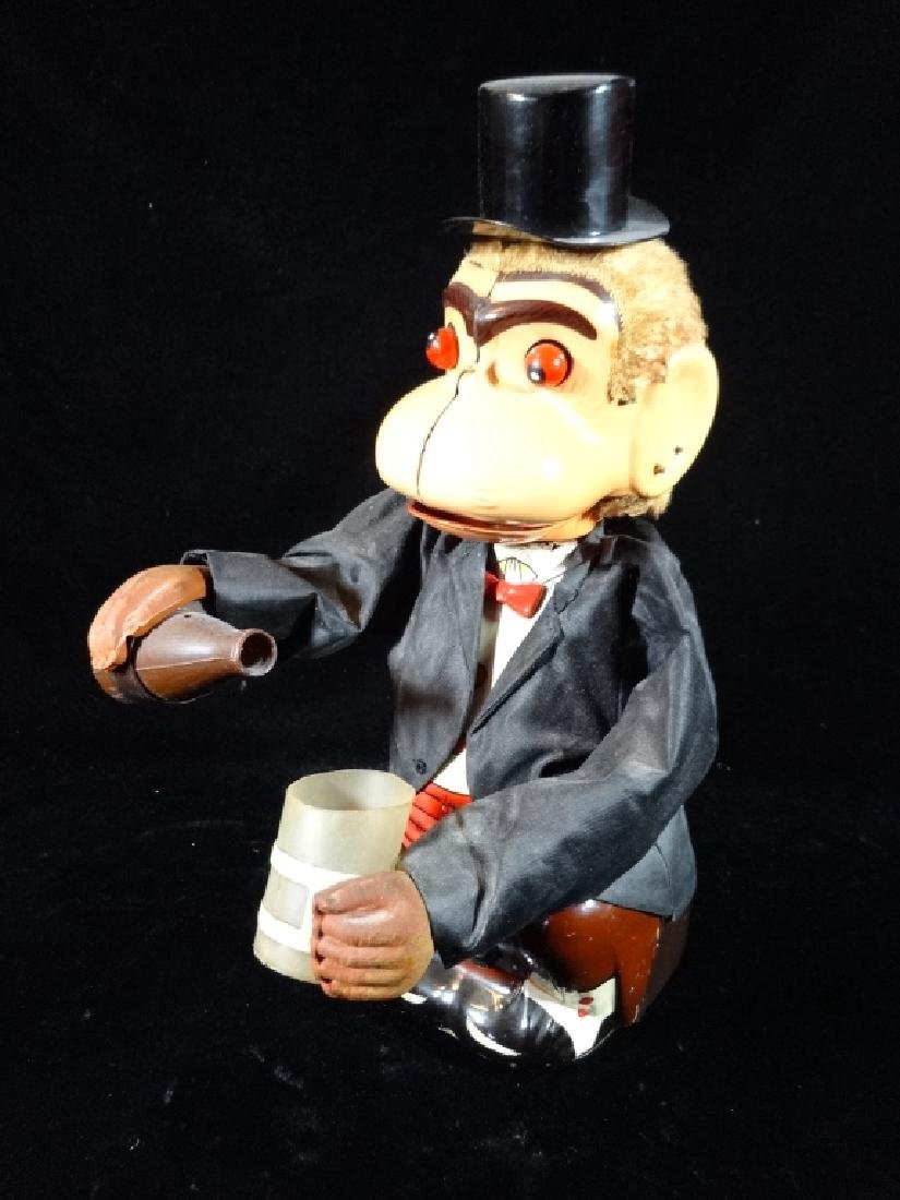 VINTAGE MECHANICAL DRINKING MONKEY TOY, WEARING TOP HAT