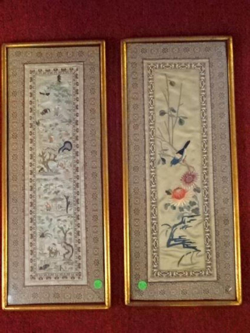 2 ASIAN EMBROIDERED SILK PANELS, BIRDS, FLOWERS, AND