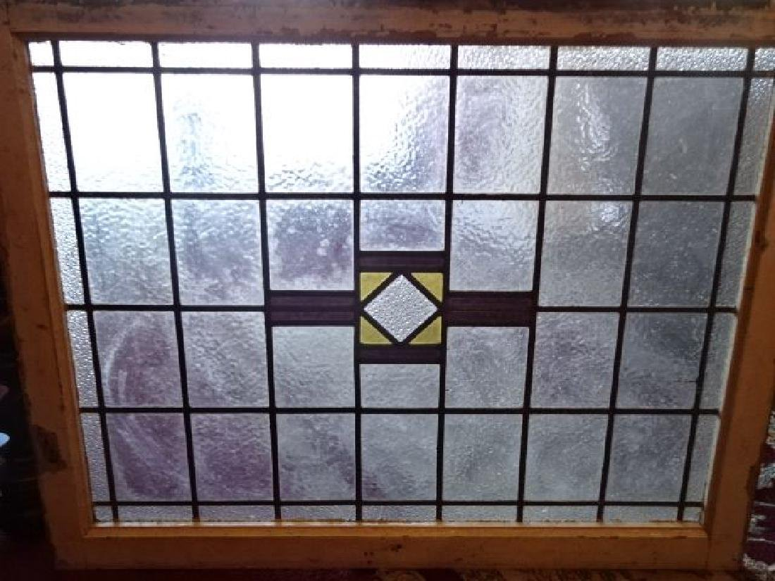 VINTAGE STAINED GLASS WINDOW PANEL, OPAQUE CLEAR,