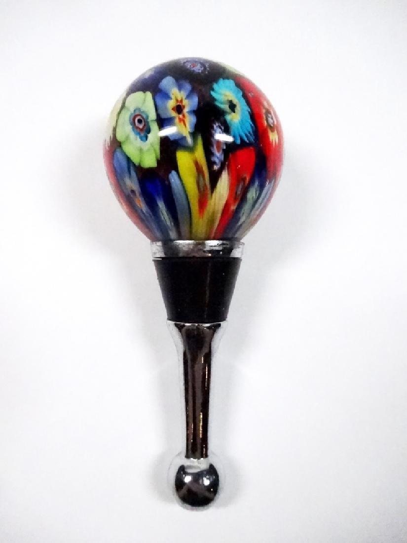 MURANO STYLE ART GLASS WINE STOPPER, ROUND, MULTICOLOR,