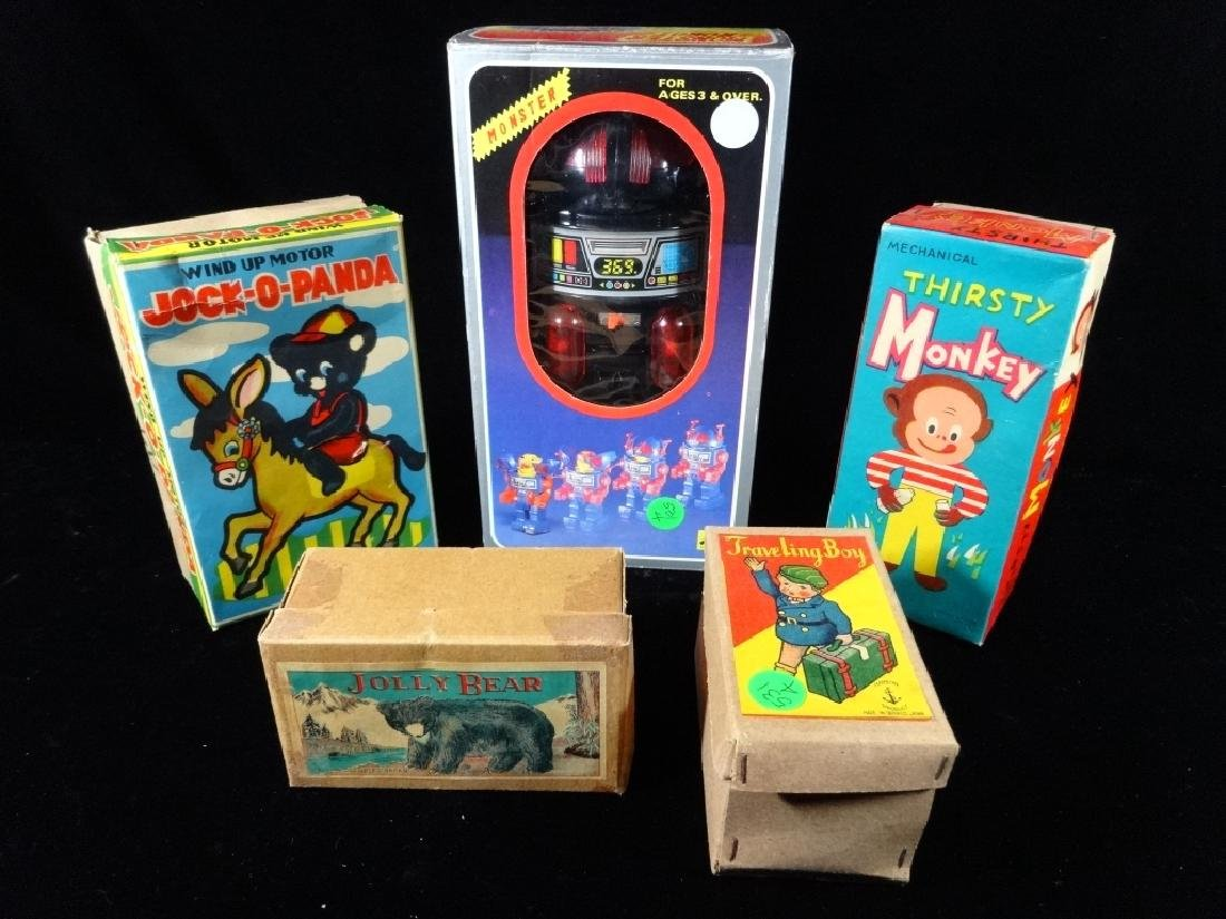 5 VINTAGE MECHANICAL TOYS IN ORIGINAL BOXES, INCLUDES