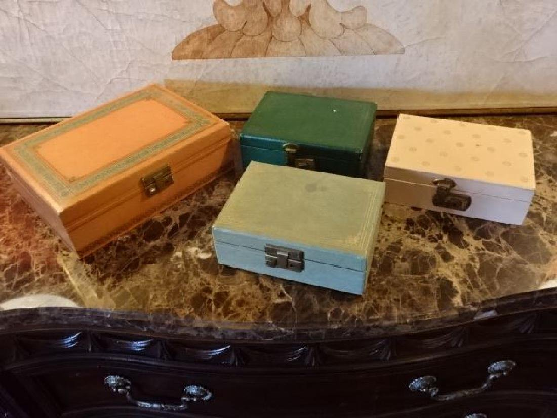 4 VINTAGE JEWELRY BOXES, GOOD CONDITION WITH SOME WEAR