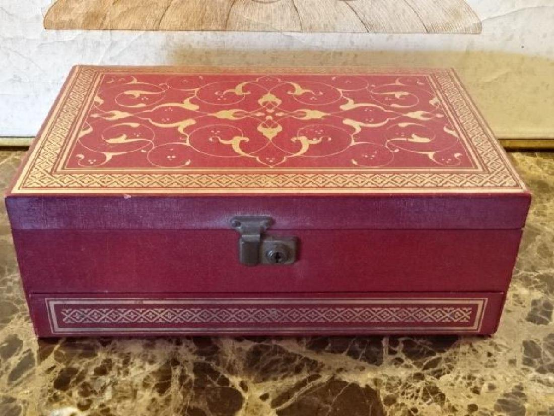 VINTAGE JEWELRY BOX, RED AND GOLD FAUX LEATHER WITH