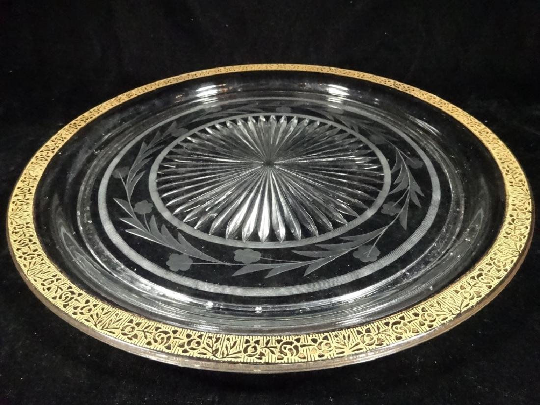 CRYSTAL PLATTER WITH GOLD RIM, CUT & ETCHED FLORAL