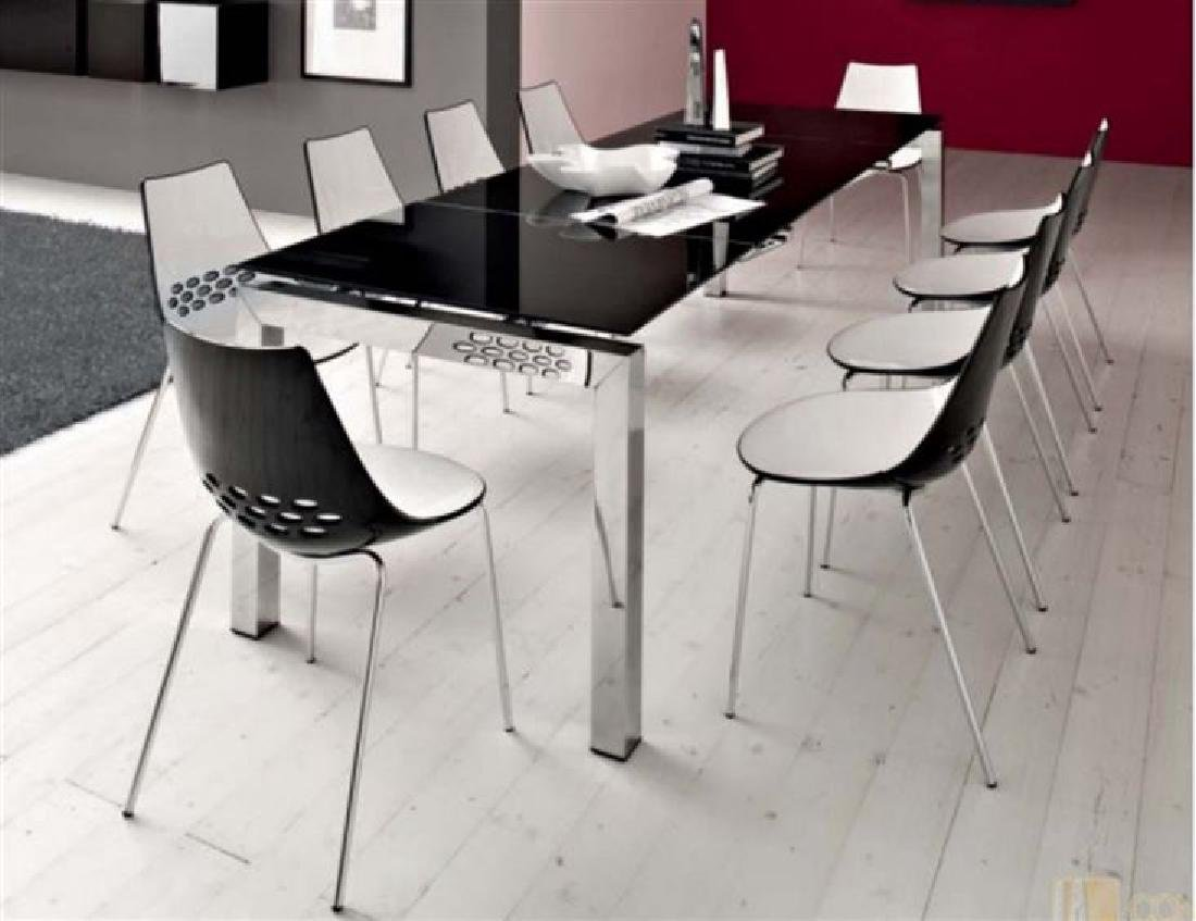 9 PC CALLIGARIS ITALIAN DINING SET WITH EXPANDABLE