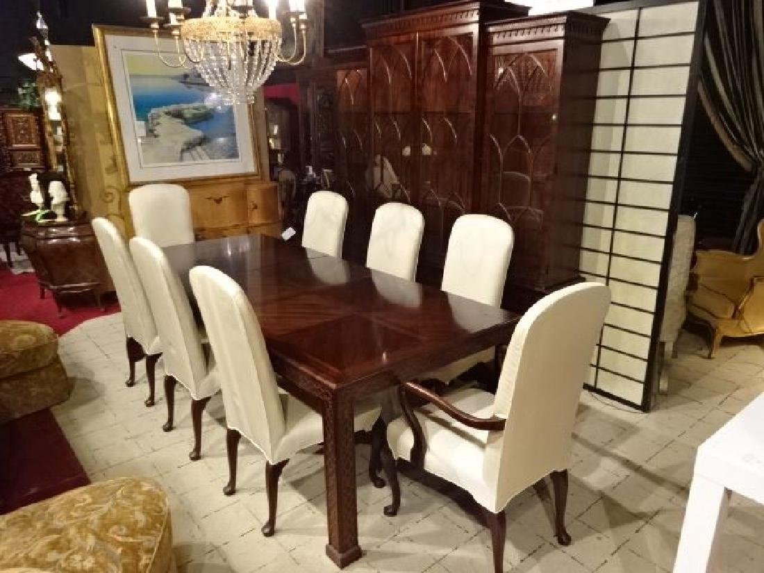 9 PC HENREDON CHINESE CHIPPENDALE DINING TABLE WITH 8