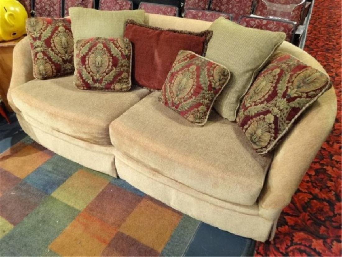 Gold Chenille Sofa With Curved Back Very Good Gently