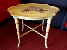 HOLLYWOOD REGENCY STYLE FAUX BAMBOO TABLE PAINTED