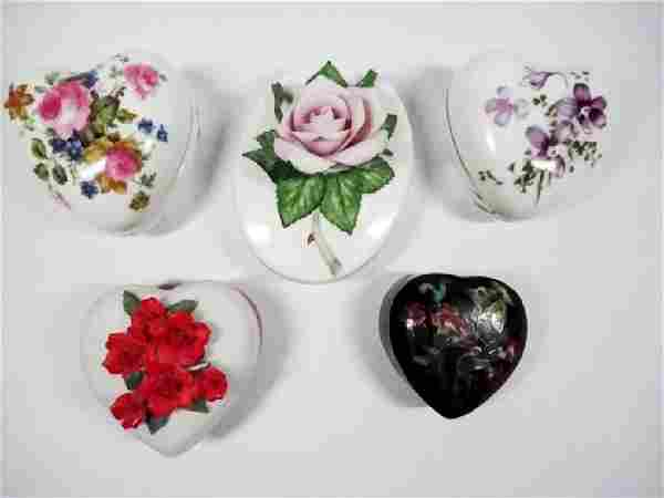 5 PC TRINKET BOXES, INCLUDES HEART SHAPED CHINESE