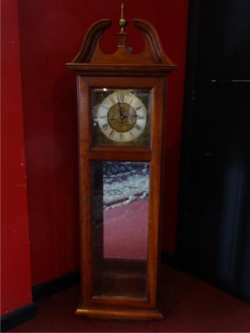 VINTAGE WEST GERMANY WALL CASE CLOCK, BRASS FINIAL