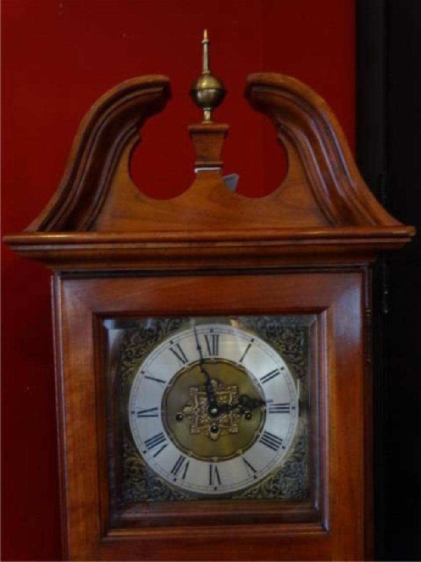 VINTAGE WEST GERMANY WALL CASE CLOCK, BRASS FINIAL - 2