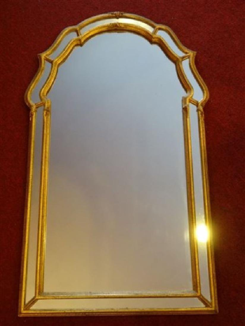 LARGE GEORGIAN STYLE GOLD FRAME MIRROR, VERY GOOD