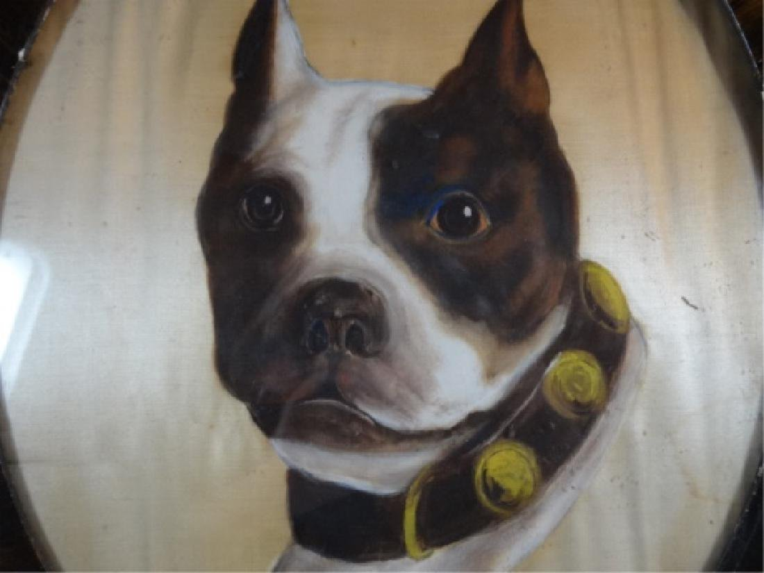 ANTIQUE BULLDOG OIL ON SILK PAINTING, UNSIGNED, OVERALL