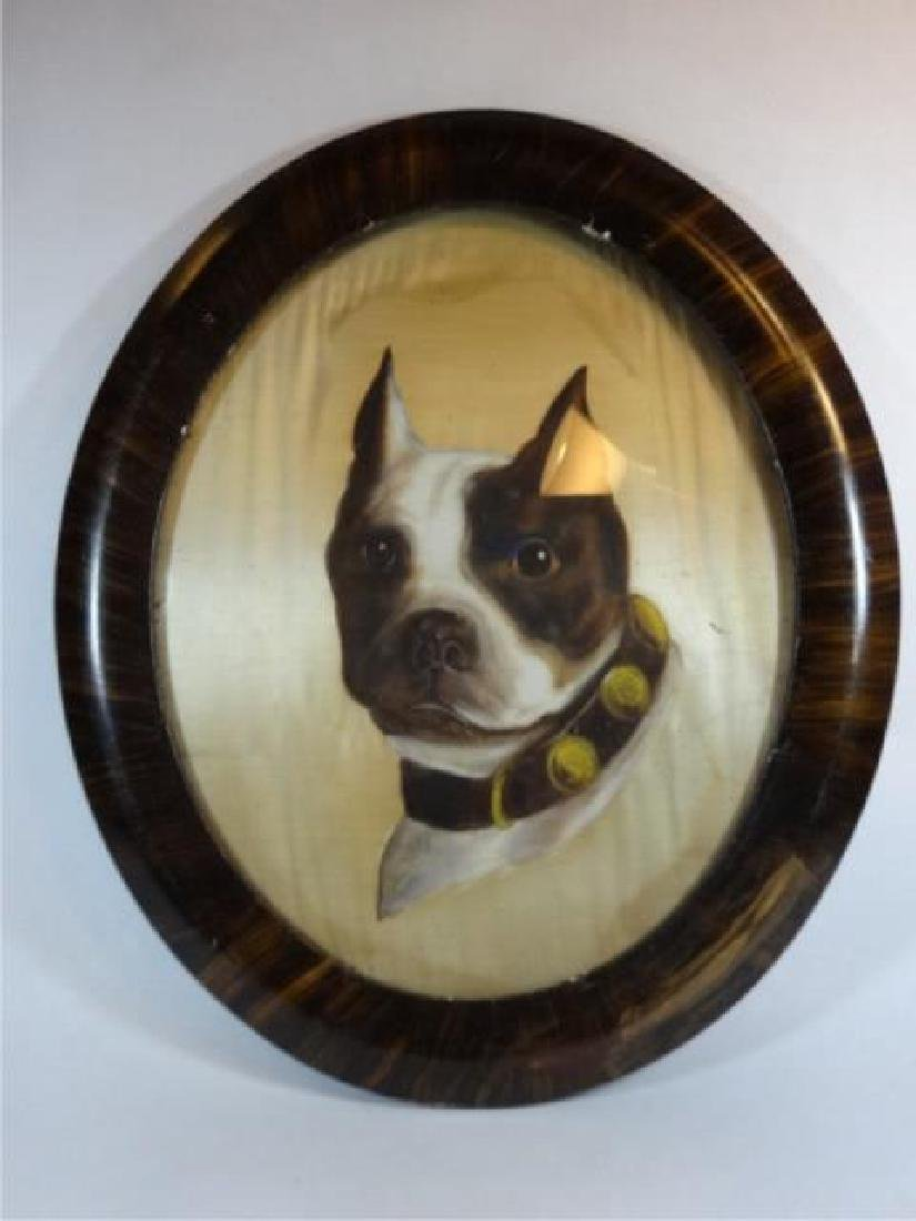 ANTIQUE BULLDOG OIL ON SILK PAINTING, UNSIGNED, OVERALL - 2