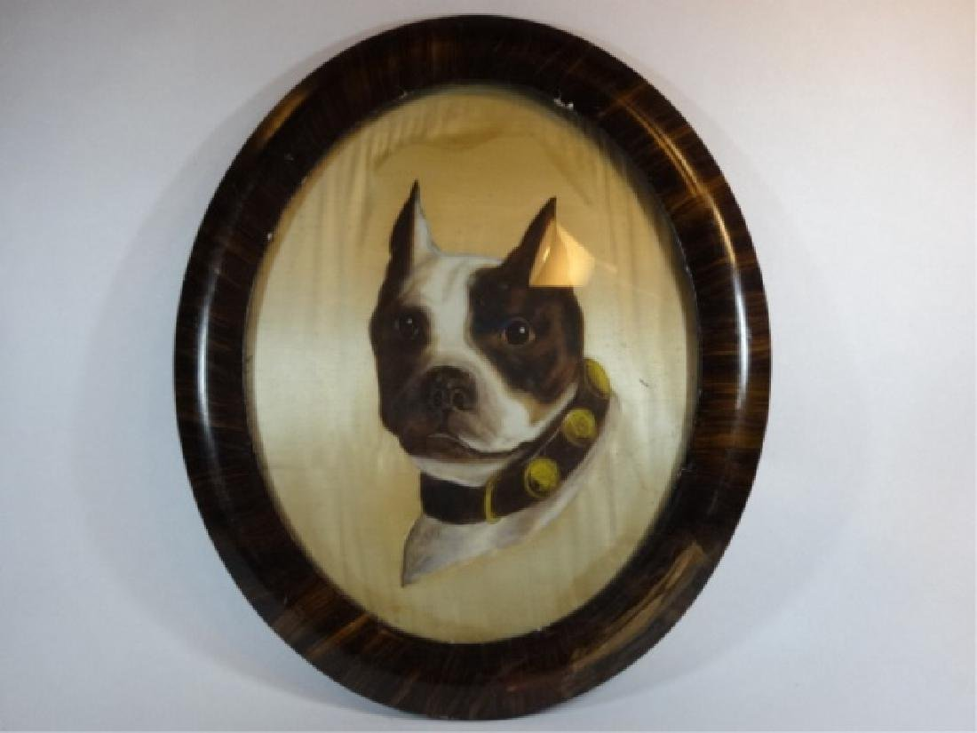 ANTIQUE BULLDOG OIL ON SILK PAINTING, UNSIGNED, OVERALL - 3