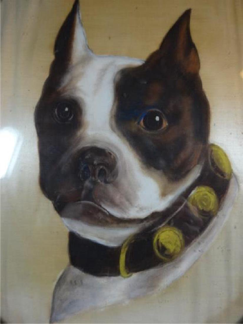 ANTIQUE BULLDOG OIL ON SILK PAINTING, UNSIGNED, OVERALL - 4