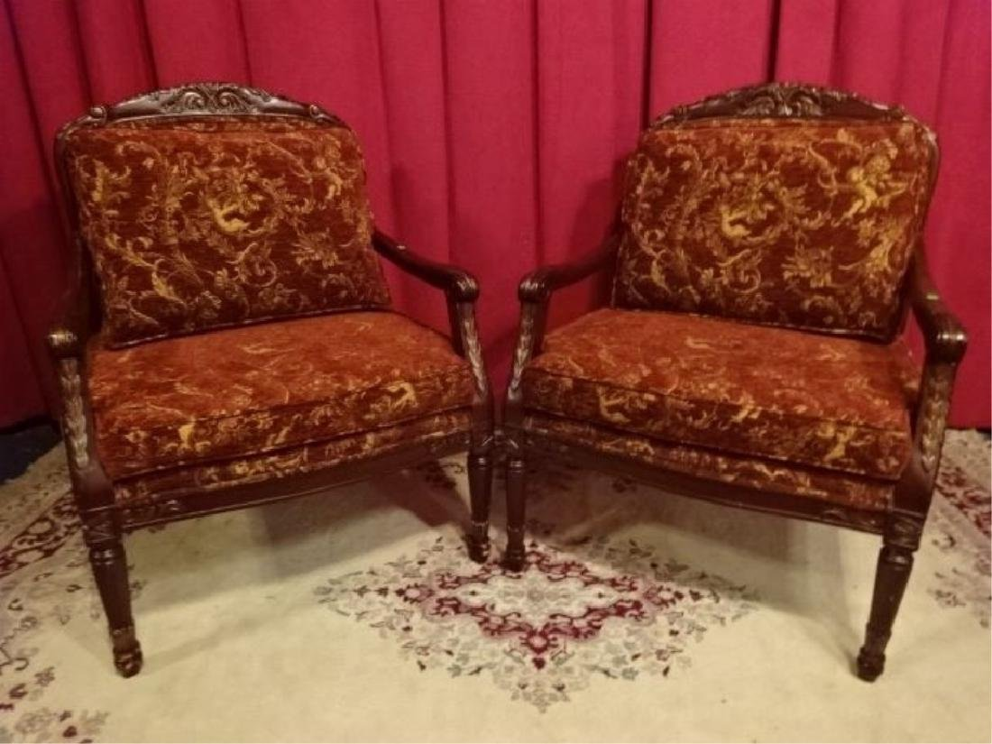PAIR FRENCH STYLE OPEN ARMCHAIRS, DARK FINISH WOOD