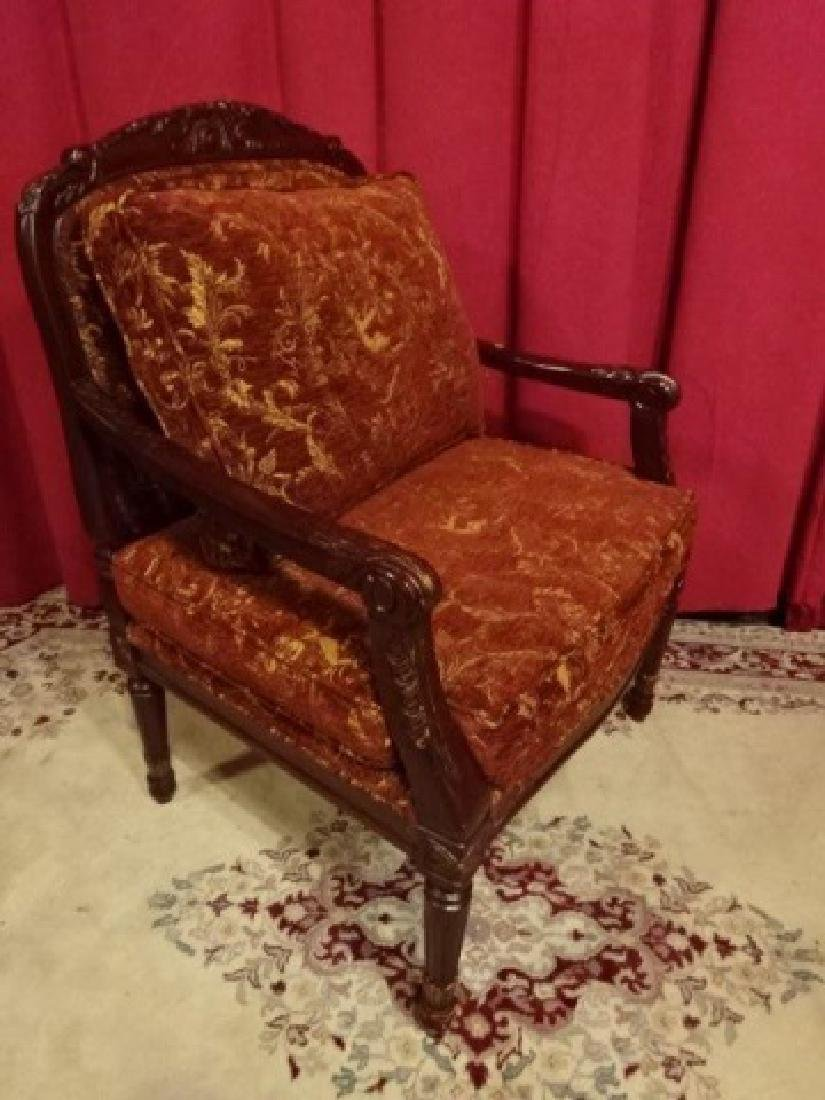 PAIR FRENCH STYLE OPEN ARMCHAIRS, DARK FINISH WOOD - 2