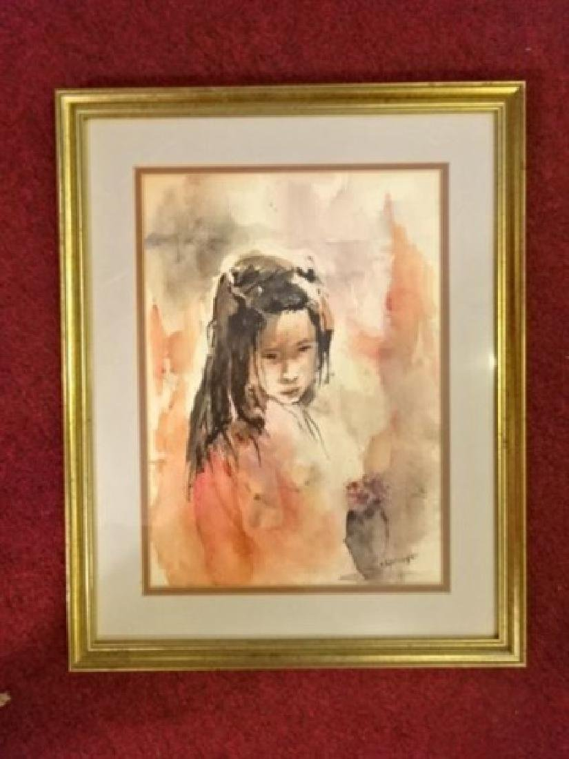 WATERCOLOR PAINTING ON PAPER, YOUNG GIRL, SIGNED