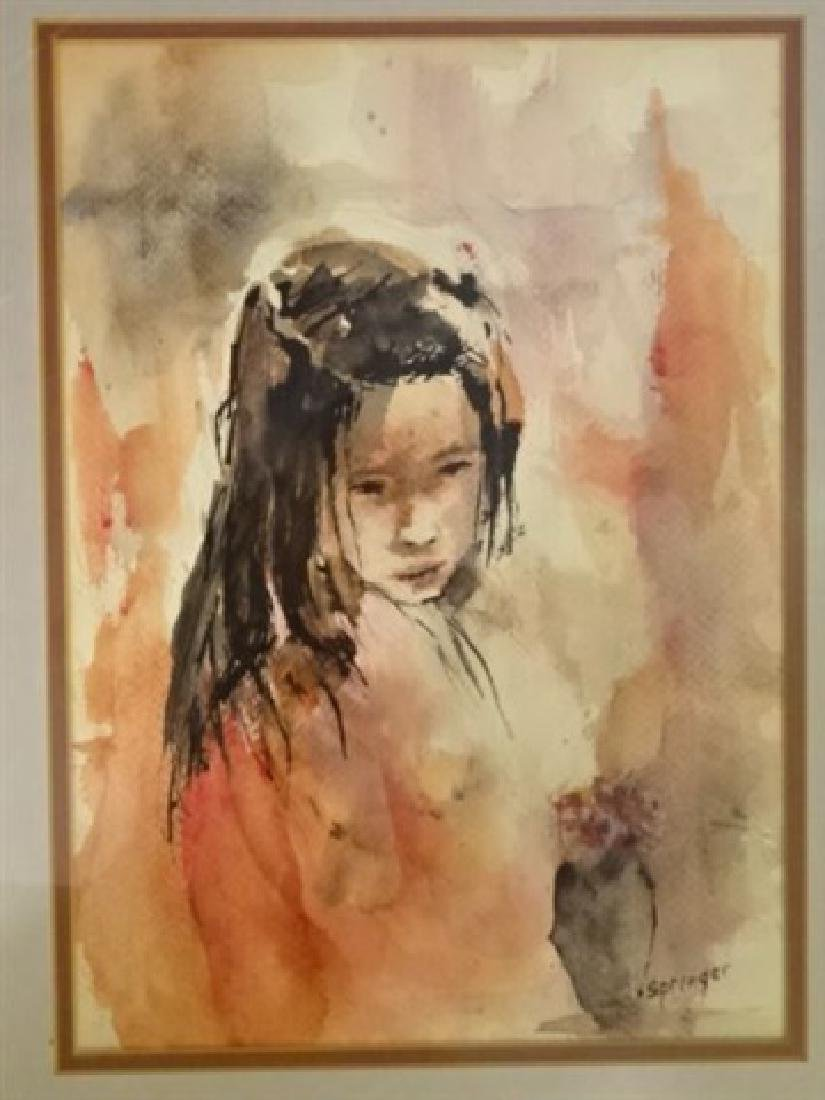 WATERCOLOR PAINTING ON PAPER, YOUNG GIRL, SIGNED - 2