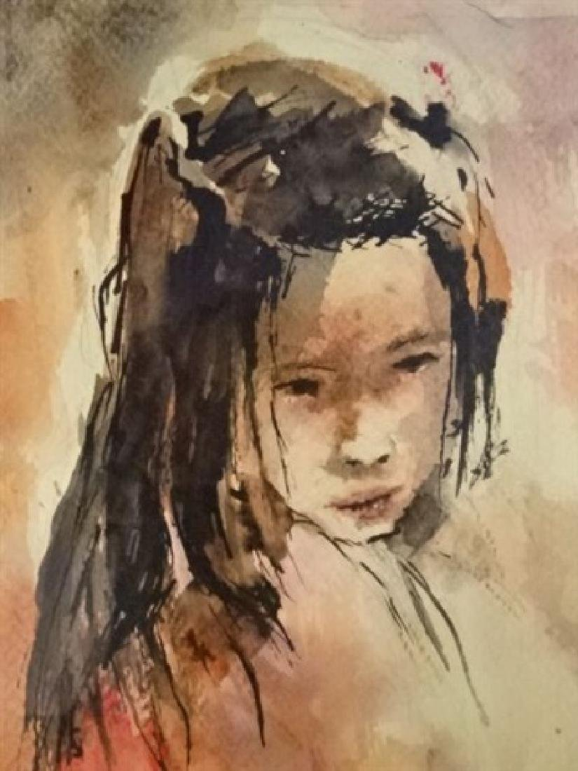 WATERCOLOR PAINTING ON PAPER, YOUNG GIRL, SIGNED - 3