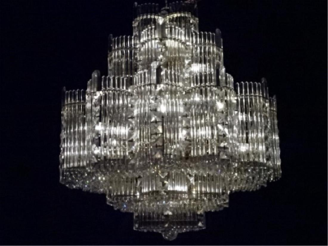 MID CENTURY LEAD CRYSTAL CHANDELIER, HOLLYWOOD REGENCY