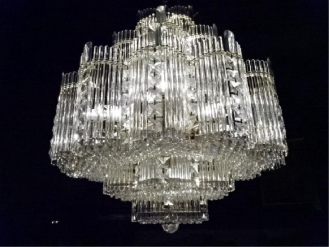 MID CENTURY LEAD CRYSTAL CHANDELIER, HOLLYWOOD REGENCY - 2