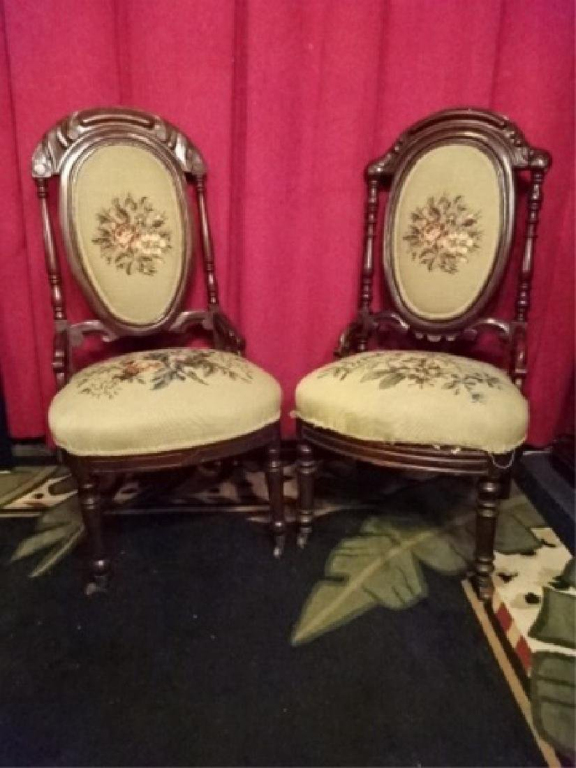 PAIR EMBROIDERED PARLOR CHAIRS, LATE 19TH C.,