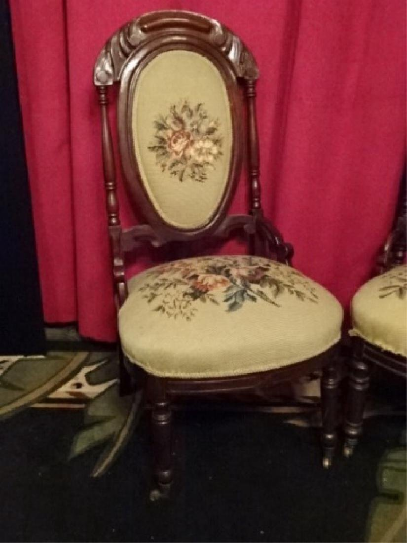 PAIR EMBROIDERED PARLOR CHAIRS, LATE 19TH C., - 2