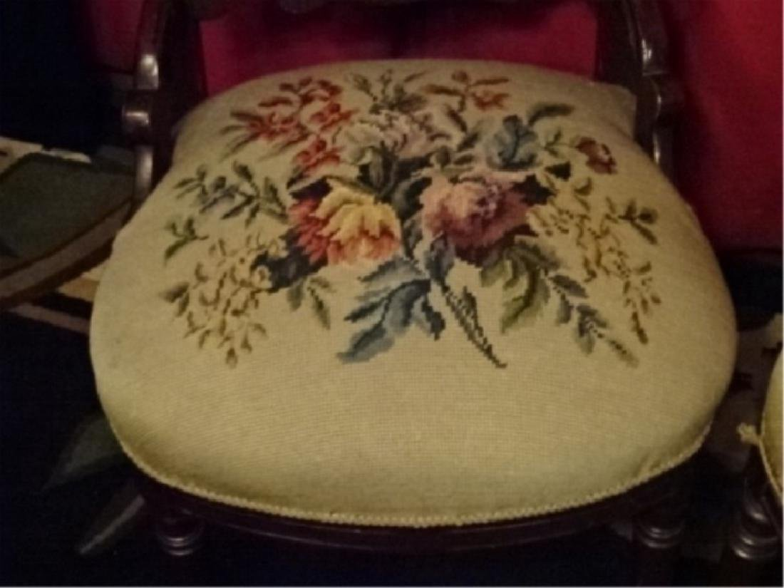 PAIR EMBROIDERED PARLOR CHAIRS, LATE 19TH C., - 5