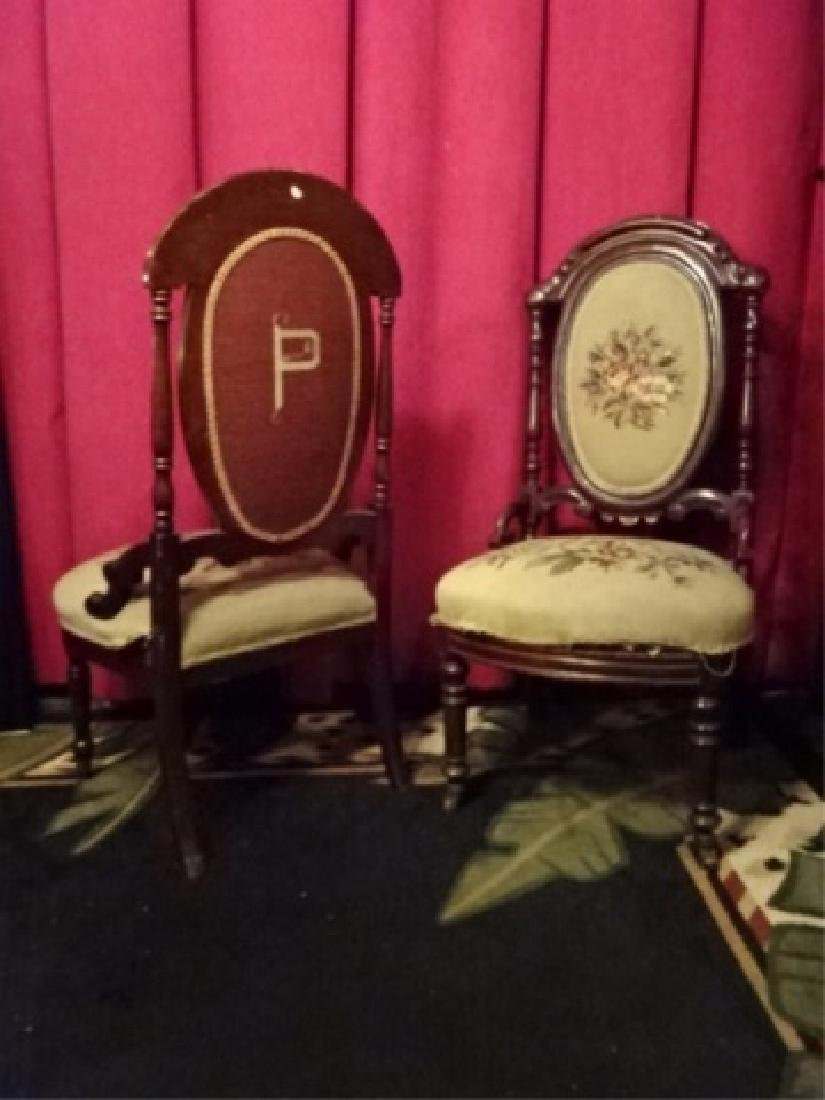 PAIR EMBROIDERED PARLOR CHAIRS, LATE 19TH C., - 6