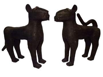 2 LARGE BENIN BRONZE LEOPARD SCULPTURES, ONE WITH TAIL