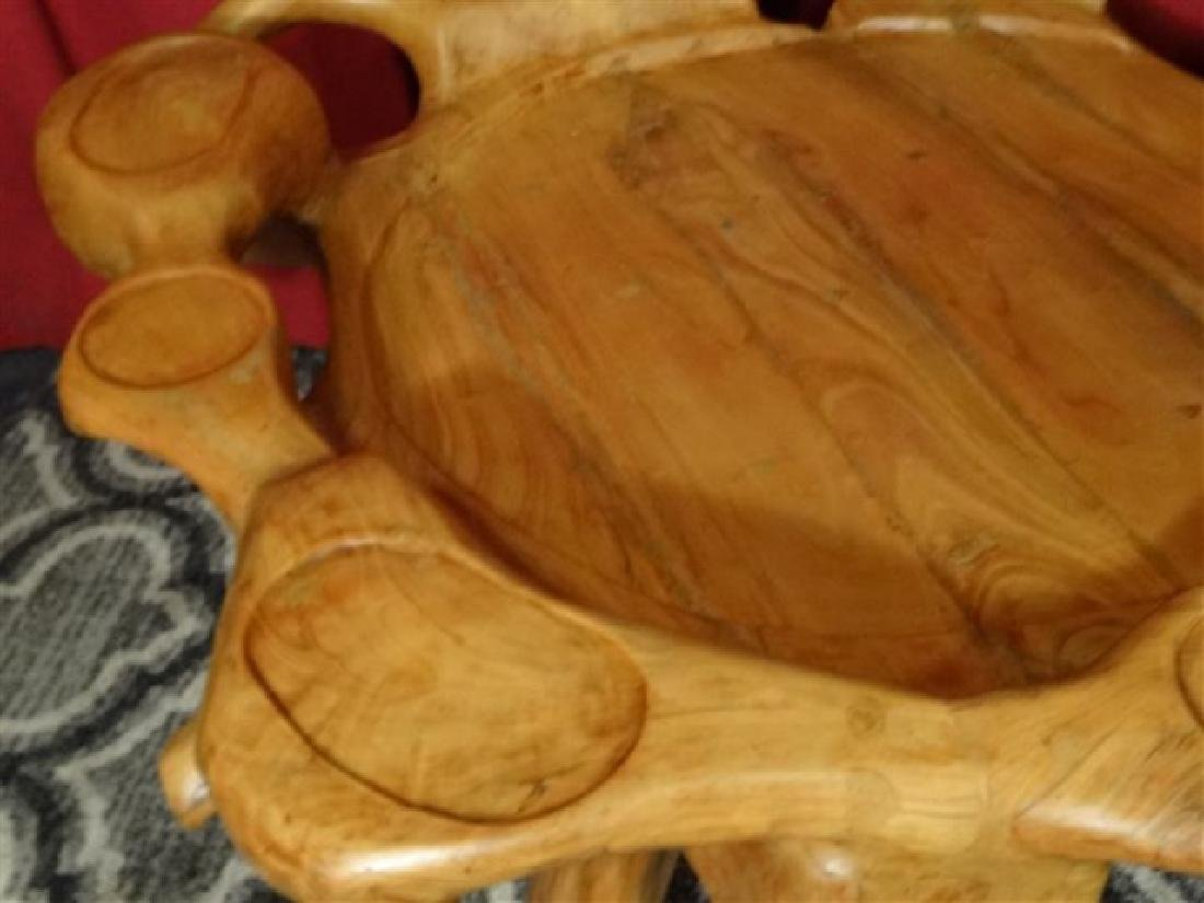 NATURAL TEAK ROOT GAME TABLE FROM THAILAND, WITH CUP - 2