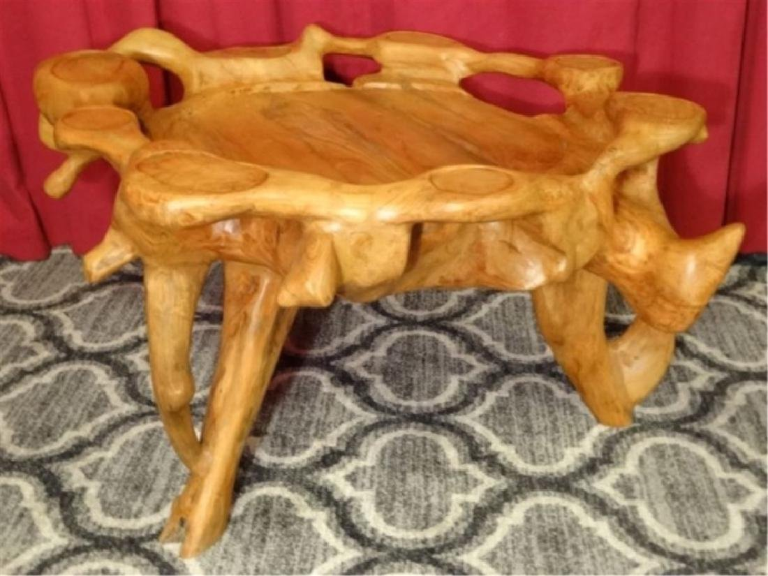 NATURAL TEAK ROOT GAME TABLE FROM THAILAND, WITH CUP - 4