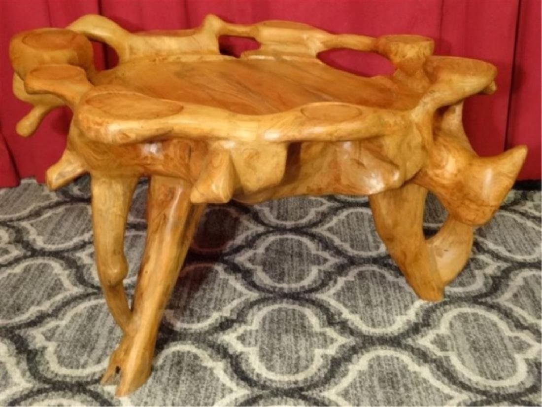 NATURAL TEAK ROOT GAME TABLE FROM THAILAND, WITH CUP - 5