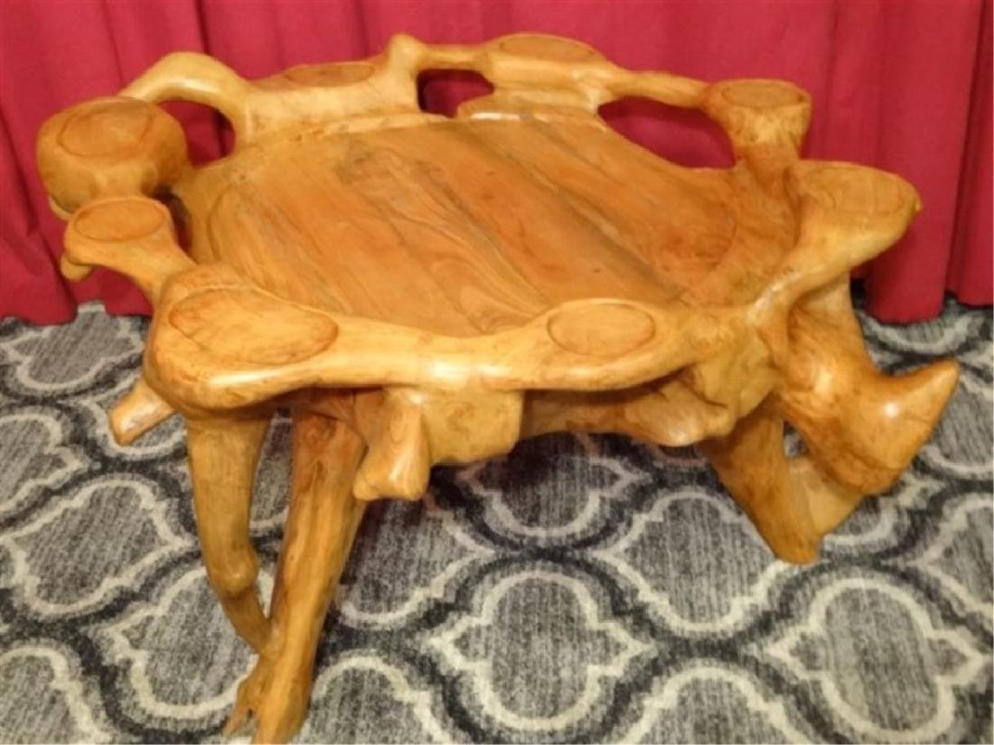 NATURAL TEAK ROOT GAME TABLE FROM THAILAND, WITH CUP - 6