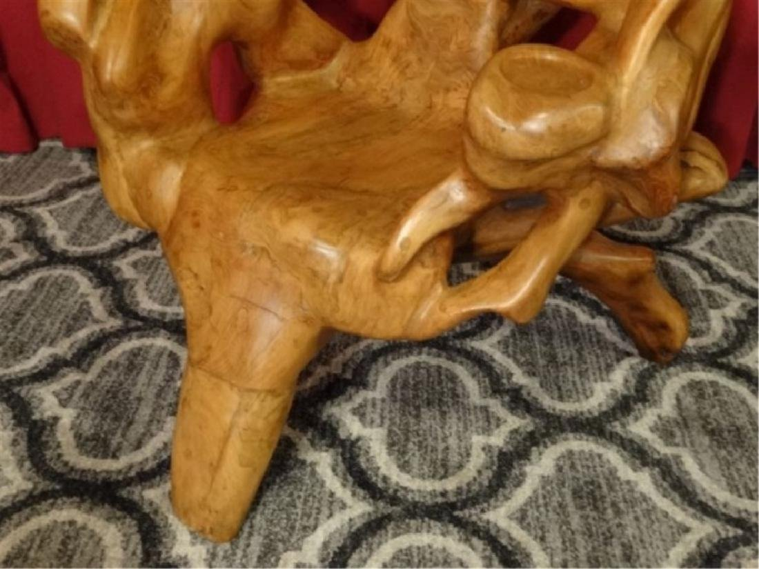 NATURAL TEAK ROOT ARMCHAIR FROM THAILAND, WITH CUP - 5