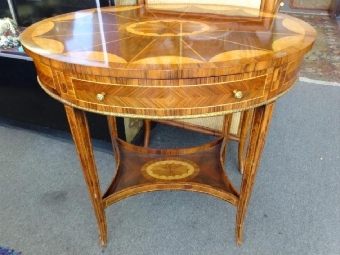 MAITLAND SMITH OVAL MARQUETRY TABLE WITH UNDERTIER,
