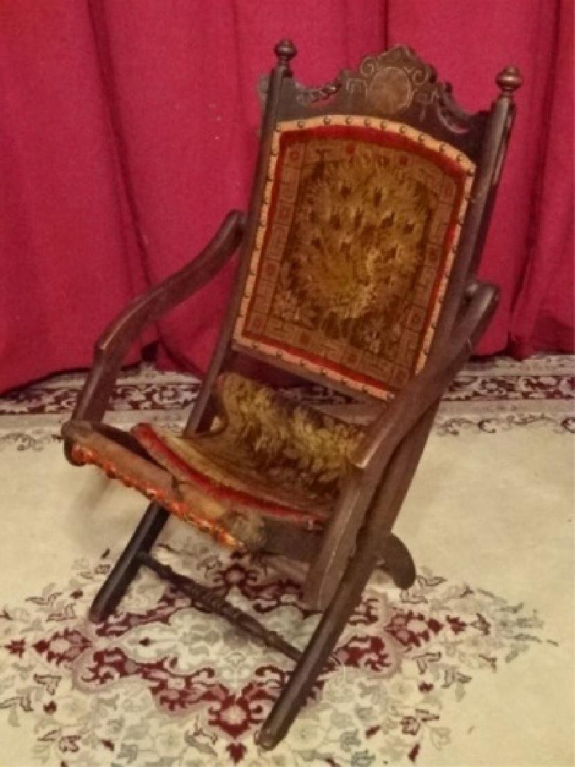 19TH C. VICTORIAN FOLDING CHAIR, FRAME IN VERY GOOD
